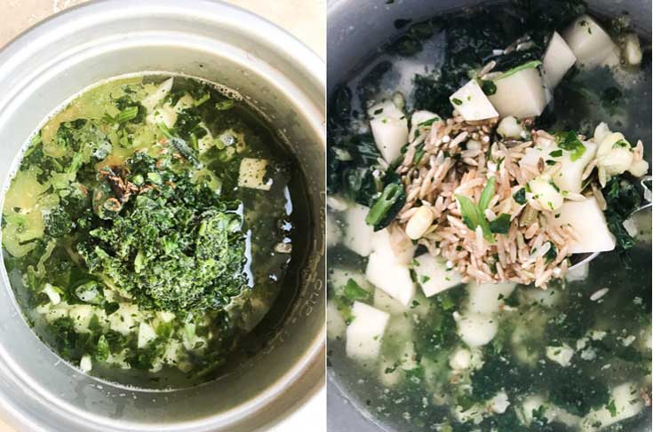 Two-photo collage of vegetable pulau rice recipe being prepped in the rice cooker.