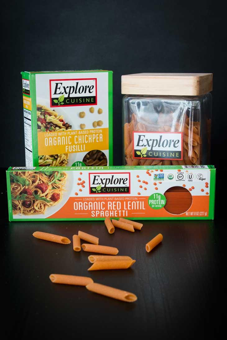 Photograph of explore cuisine pulse pasta boxes.