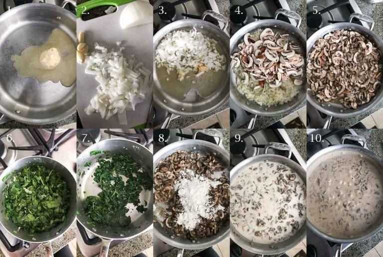 A step-by-step collage of 10 photographs on how to make a vegan creamy mushroom sauce for the vegan spinach mushroom lasagna dish.
