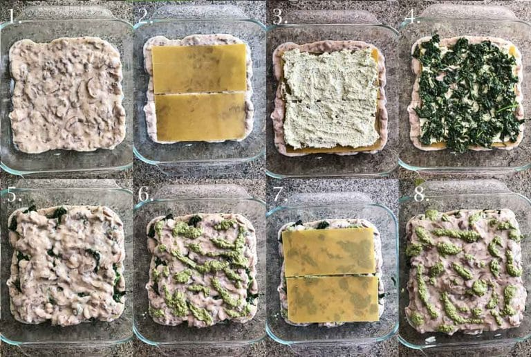A step-by-step collage of 8 photographs showing how to make a vegan spinach mushroom lasagna.