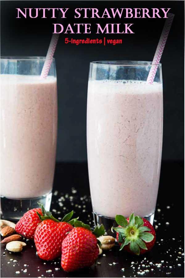 Nutty Strawberry Date Milk #vegan #glutenfree #vegandrink #veganfood | www.Vegetariangastronomy.com | vegetarian gastronomy