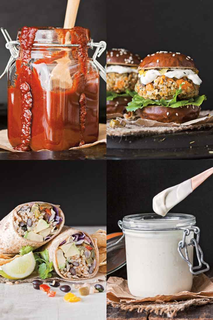 A four photograph collage showing vegan burger recipe, vegan burrito, and two vegan sauces from a vegan cookbook.
