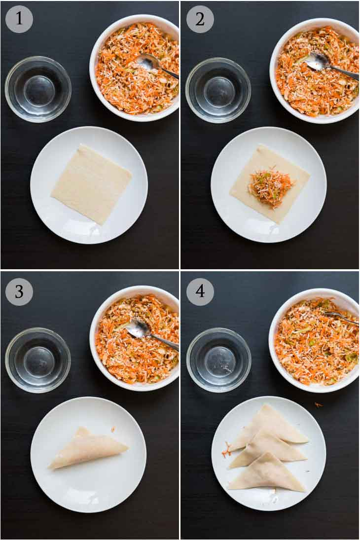Step-by-step collage of 4 photographs on how to make wontons.