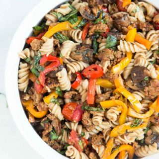Pasta Salad with Grilled Italian Sausage, Peppers, Mushrooms, & Cherry Tomatoes (Vegan)