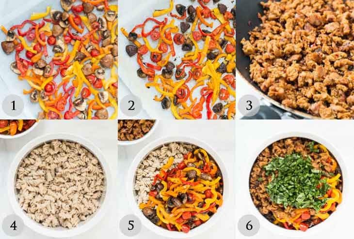 A step-by-step guide of how to make vegan pasta salad.