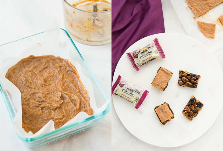 2 picture collage showing step by step how to make vegan chocolate bars with date caramel.