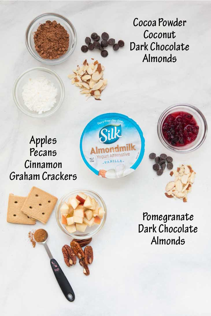 An overhead photograph showing 3 healthy yogurt cup combinations with text overlay.