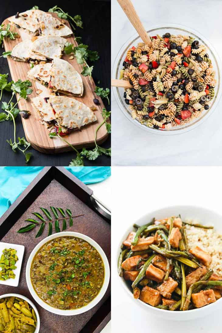 A collage of 4 photographs showing easy family friendly weeknight dinners. Quesadillas, pasta salad, lentils, and teriyaki tofu.