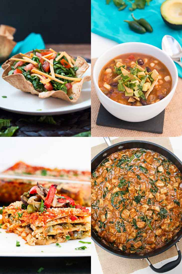A collage of 4 photographs showing easy family friendly weeknight dinners. Taco bowl, tortilla soup, lasagna, pra ram tofu.