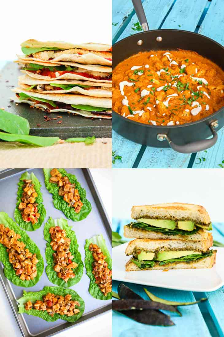 A collage of 4 photographs showing easy family friendly weeknight dinners. Eggplant quesadillas, cauliflower tikka masala, lettuce tofu wraps, panini.