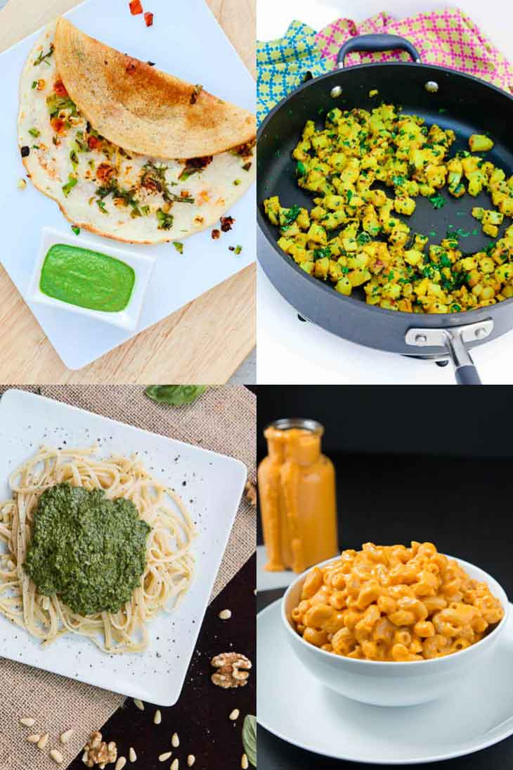 A collage of 4 photographs showing easy family friendly weeknight dinners. Dosa, Lemony potatoes, pesto pasta, vegan mac n cheese.