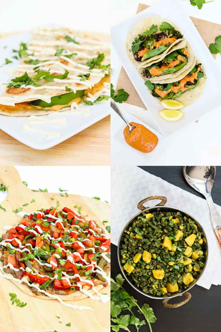 A collage of 4 photographs showing easy family friendly weeknight dinners. Hummus quesadillas veggie tacos, mexican pizza, curried green beans.