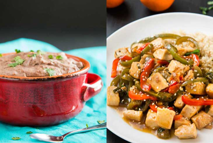 A collage of 2 photographs showing easy family friendly weeknight dinners. Black beans and orange pepper tofu.