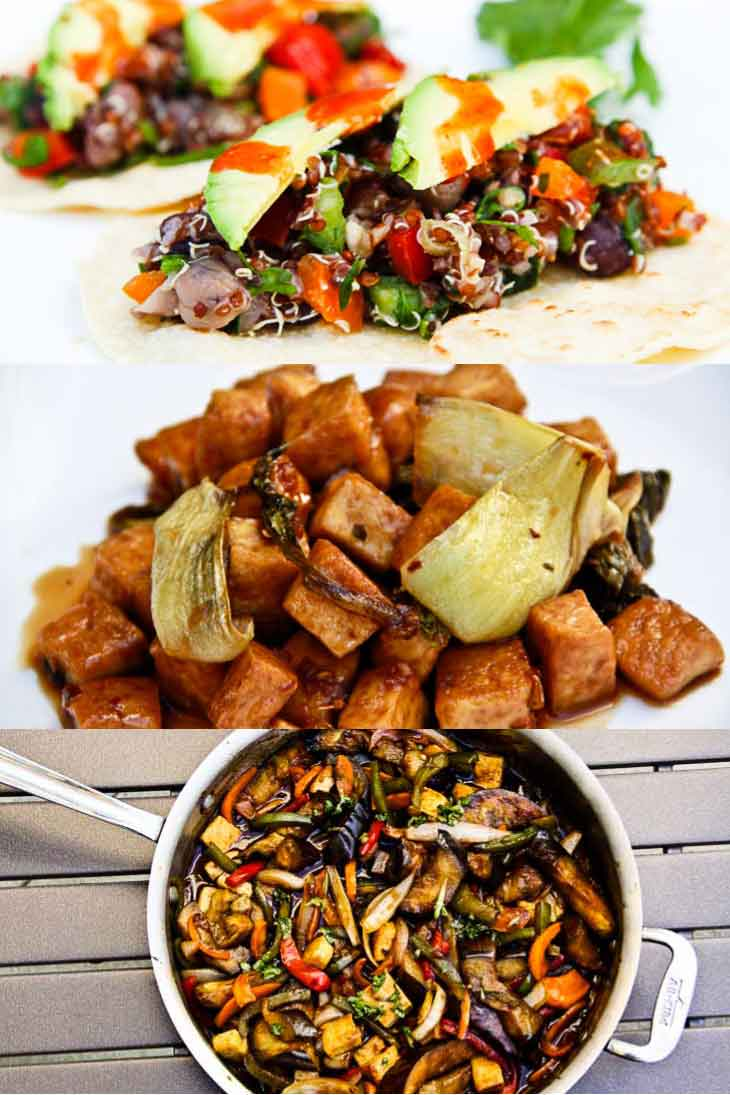 A collage of 3 photographs showing easy family friendly weeknight dinners. Four bean tacos, garlic pepper tofu, thai b.asil eggplant