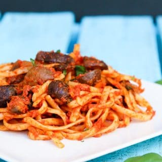 Linguine with Roasted Mushrooms and Tomato-Basil Butter Sauce