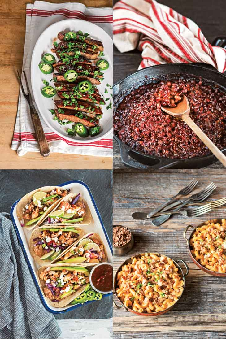 A collage of photographs from the great vegan bbq cookbook.