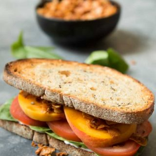 Vegan Coconut BLT Sandwich with Peaches