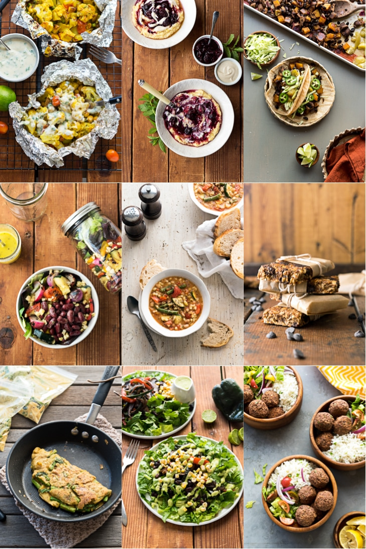 A collage of photographs from Vegan Yack Attack On the Go cookbook, including vegan blt sandwich recipe.