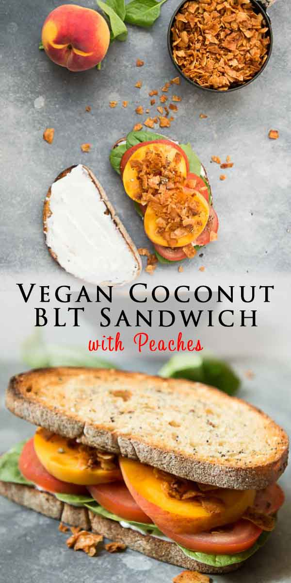 This Vegan BLT Sandwich with Coconut Bacon and Peaches is the perfect combination for a mouth-watering flavor-packed meal! Easy to make, takes only 15 minutes, and is the perfect vegan sandwich to take on the go! #vegansandwich #veganeats #veganrecipe #easyrecipe #bltsandwich #coconutbacon #peaches #easyveganrecipes