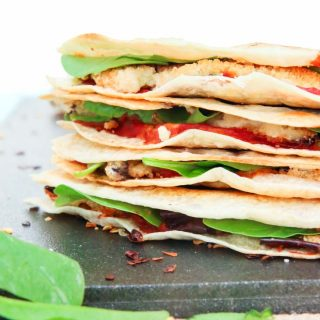 Crispy Grilled Eggplant & Spinach Vegan Quesadillas