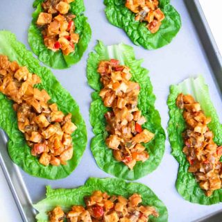 Tofu peanut lettuce wraps on a baking tray