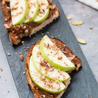 Pumpkin Butter Toast with Apples and Pecans
