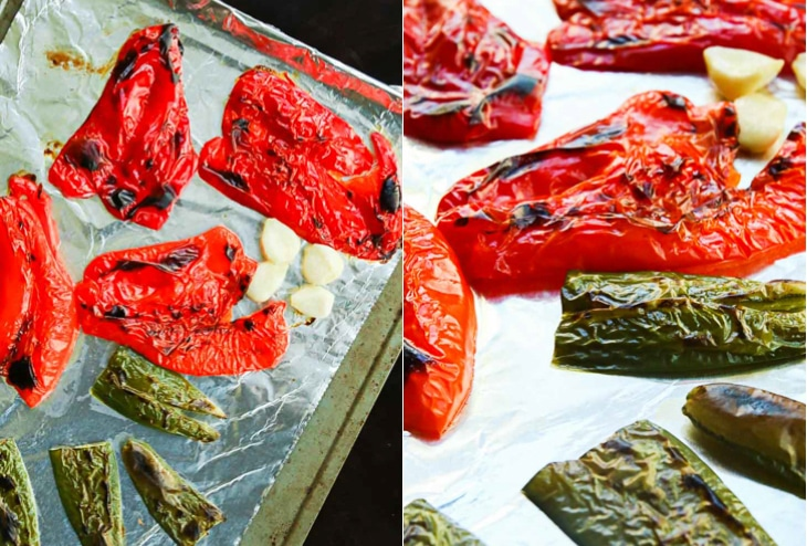 A collage image for making a roasted red pepper sauce