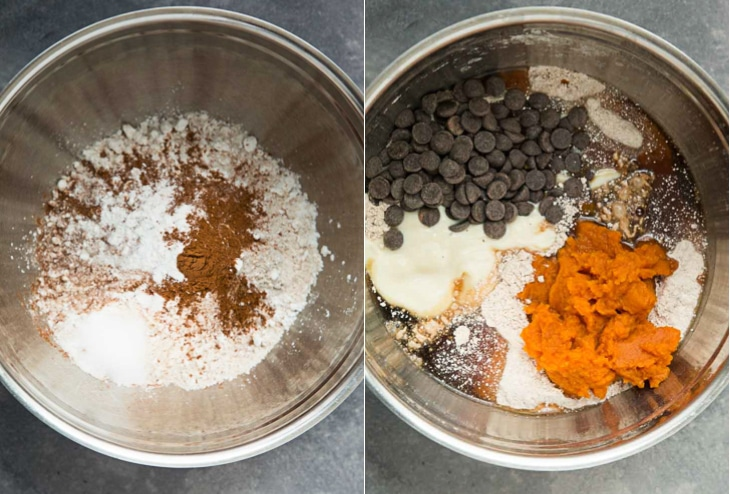 A collage showing step by step on how to make vegan pumpkin muffins. Both photographs show mixing of the ingredients.