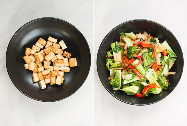 A collage of two pictures showing pan fried tofu and sauteed veggies for a step by step healthy stir fry recipe.