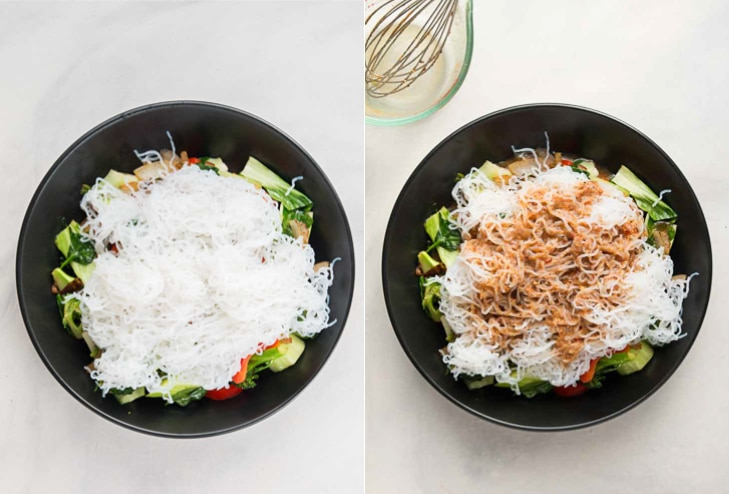 A collage of two photographs of noodles and sauce added for a healthy stir fry recipe.