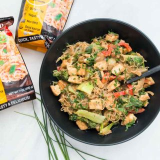 Healthy Almond Butter Noodle Stir Fry with Tofu (Low-Carb)