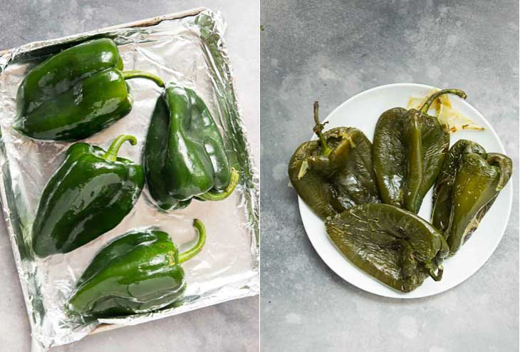 A collage of poblano peppers being roasted for vegan quesadilla.