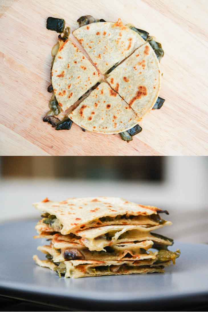 A collage of vegan quesadillas cut into pieces on a cutting board and stacked on top of each other.