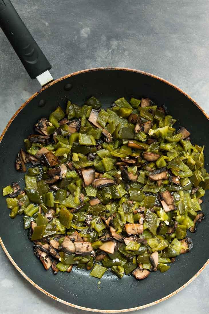 Overhead photograph of mushrooms & poblano peppers for vegan quesadilla.