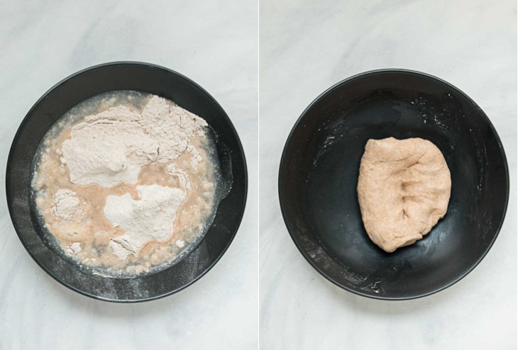 Collage of two pictures showing how to make dough for a roti recipe.