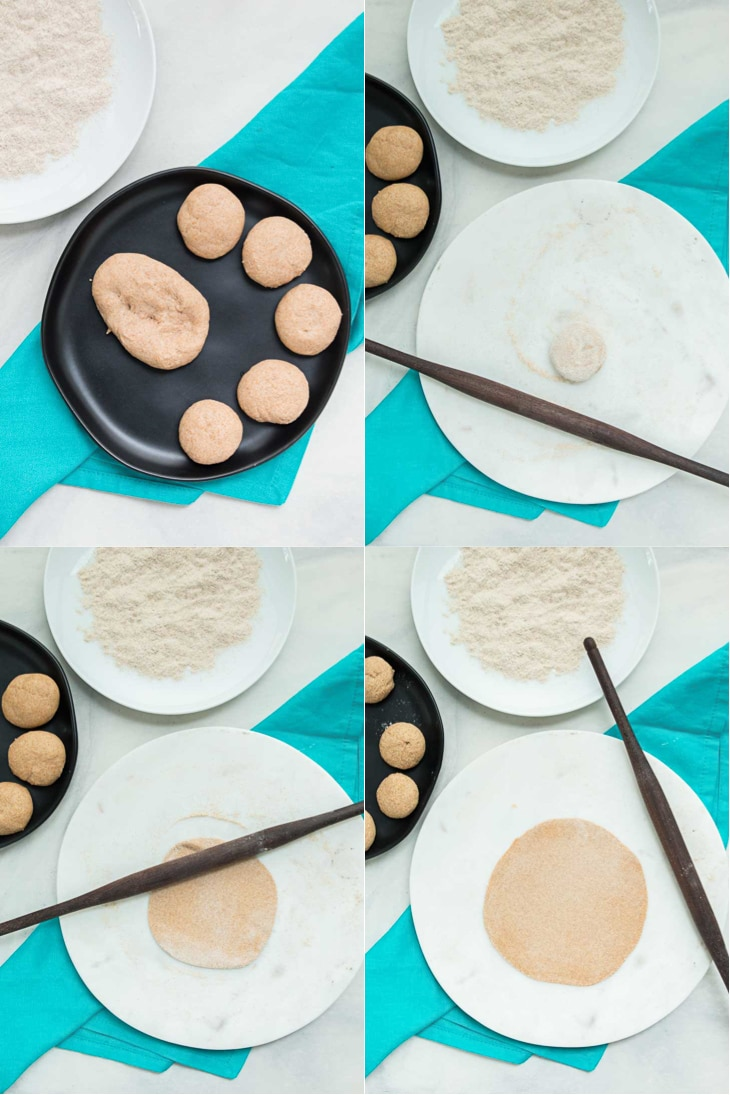A collage of 4 pictures showing how to roll the perfect roti recipe.