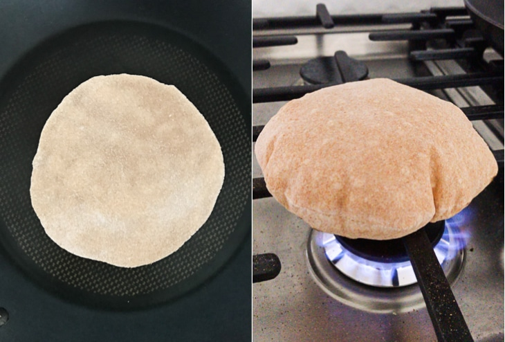 A collage of two pictures showing how to cook and fluff the perfect roti recipe.