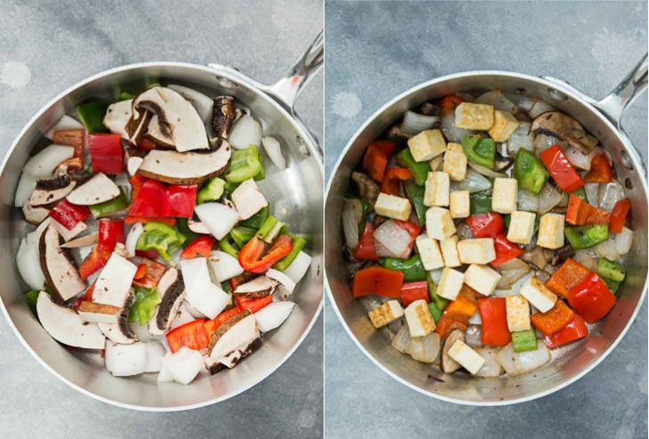 Two picture collage of vegetables being sauteed and pan-fried tofu for a vegan noodle soup recipe.
