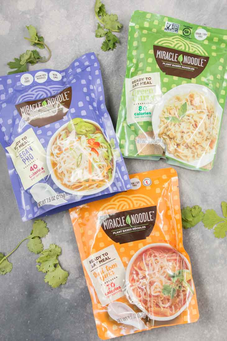 Miracle noodle ready to eat meal packs, including thai tom yum vegan noodle soup, vegan pho, and green curry.