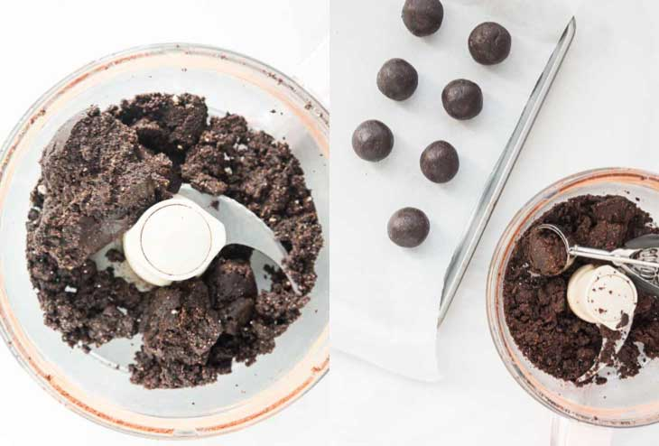 Two picture collage of vegan gluten-free brownie dough in a food processor and how to shape them into small bites.