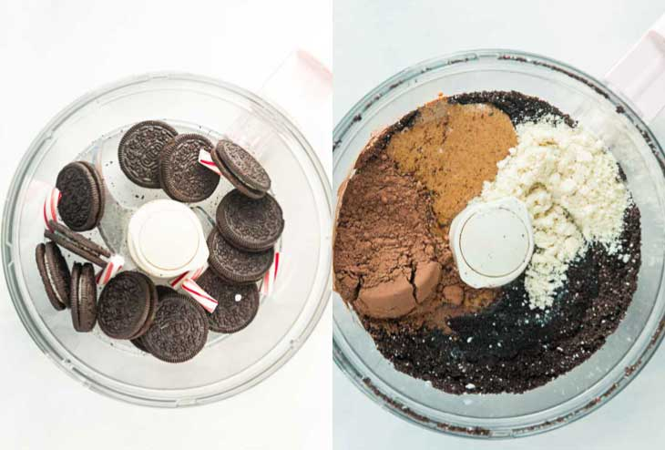 Two picture collage showing how to make vegan gluten-free brownies. Both images show overhead ingredients in a food processor.